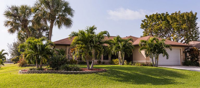 Photo of home in South Florida with palm trees through the landscape